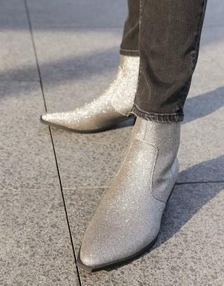 ASOS DESIGN cuban heel western chelsea boots in silver glitter