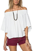 O'Neill Sahara Off-The-Shoulder Smocked Flutter-Sleeve Knit Top