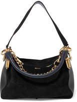 Sacai Coin Purse Suede And Leather Shoulder Bag - Black