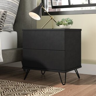 Union Rustic Paul Bedside 2 Drawer Nightstand Color: Black