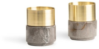 And Jacob Brass Candle Holders Gray Marble