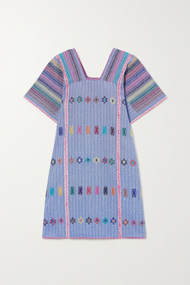 Pippa Embroidered Striped Cotton Huipil - Blue