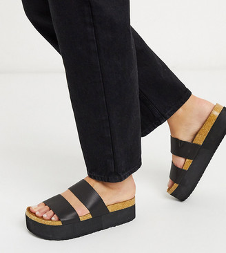 ASOS DESIGN Wide Fit Fiery chunky double strap mule sandals in black