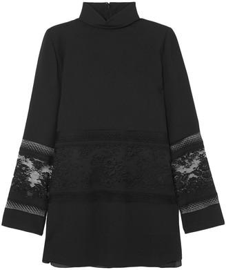 Chloé Lace-paneled Cady Turtleneck Tunic