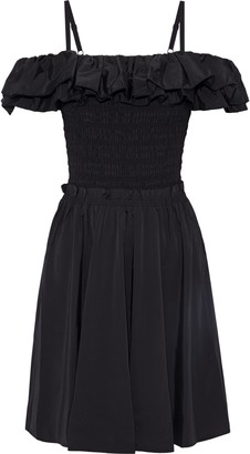 Nicholas Cold-shoulder Ruffled Shirred Cotton-blend Taffeta Dress