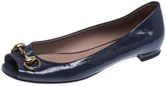 Gucci Purple Microguccissima Patent Leather Horsebit Peep Toe Ballet Flats Size 35
