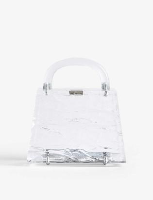 L'Afshar Ida small croc-embossed acrylic clutch bag