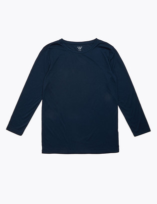 Marks and Spencer Crew Neck Relaxed Longline Long Sleeve Top