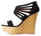 Charlotte Russe Qupid Laser Cut Wedge Sandals