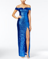 B. Darlin Juniors' Sequined Off-The-Shoulder Column Gown