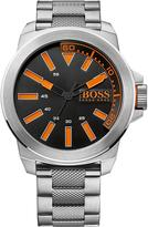 HUGO BOSS New York Silver Stainless Steel, Black Dial Gents Watch