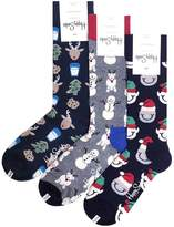 "Happy Socks SANTA""S WORKSHOP"" Men's 3PK Gift Set"