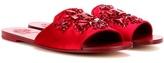 Tory Burch Delphine Embellished Satin Slip-on Sandals