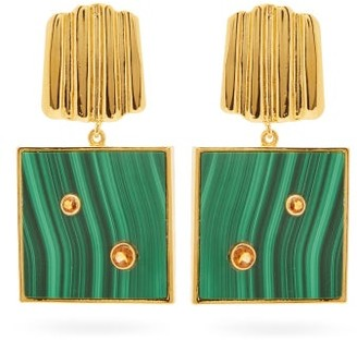 Lizzie Fortunato Green Wave Malachite & Gold-plated Earrings - Womens - Green