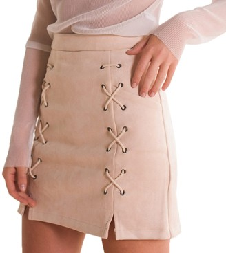 Elonglin Women Bandage Faux Suede Mini Skirt Stretch Tight Short Skirt High-Waisted Lace Up Slit Bodycon Wrap Skirt Sexy Black UK 8 (Asian M)