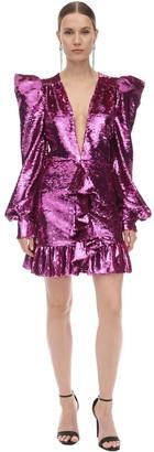 Amen Black Draped Sequin Embellished Mini Dress