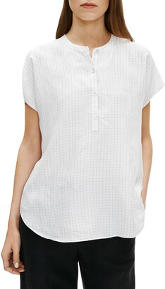 Eileen Fisher Check Washed Silk Top