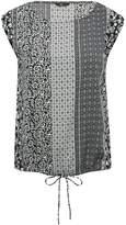M&Co Petite tile print tie front top