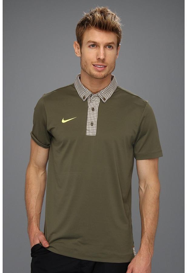 Nike Sport Gingham Novelty Polo (Tarp Green) - Apparel