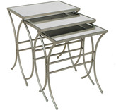 Three Hands Modern Styled Mirror 3 Piece Nesting Tables