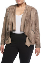 Chelsea & Theodore Plus Distressed Faux-Leather Jacket, Plus Size