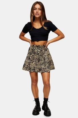Topshop Womens Petite Camel Shirred Animal Print Mini Skirt - Camel