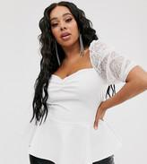 Asos DESIGN Curve exclusive milkmaid peplum hemtop with mesh sleeves in white