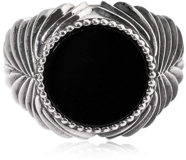 Emanuele Bicocchi Herringbone Stone Onyx & Silver Ring