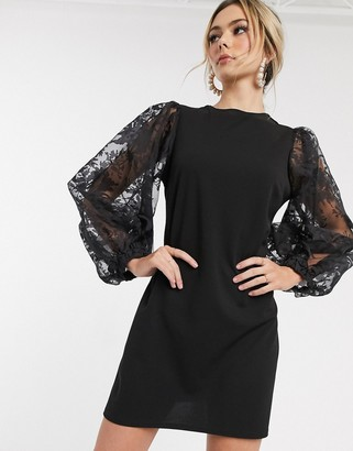John Zack mini shift dress with lace bell sleeve in black