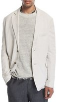 Vince Relaxed Linen-Blend Blazer, Whisper White