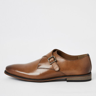 River Island Brown leather monk strap shoes