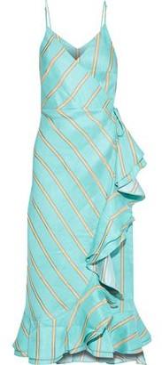 Paper London Peonie Ruffled Striped Linen-blend Midi Wrap Dress