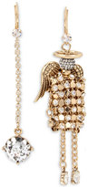 Betsey Johnson Gold-Tone Crystal Drop and Angel Mismatch Earrings