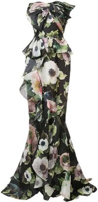 Marchesa Macro Floral Print Gown