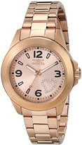 """Invicta Women's 17934 """"Angel"""" Rose Gold-Tone Watch with White Crystal Heart on Dial"""