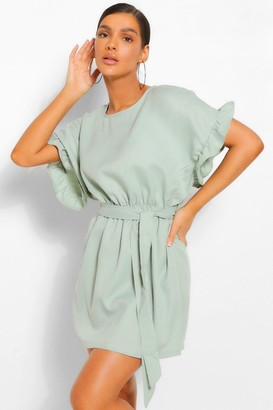 boohoo Frill Sleeve Belted Shift Dress