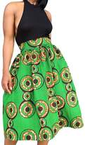 BYY African Print A-line Pleated Midi Skirt(,S)