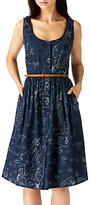 Sugarhill Boutique Beatrice Map Sun Dress, Navy
