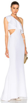 Cushnie et Ochs Crepe Gown with Sash Detail in White.