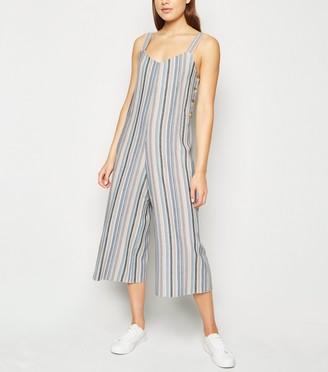 New Look Stripe Linen Look Button Side Jumpsuit