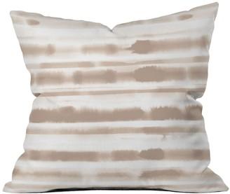 Deny Designs Jacqueline Maldonado Watercolor Stripes Taupe Square Throw Pillow