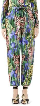 Gucci Feline Garden Silk Twill Joggers