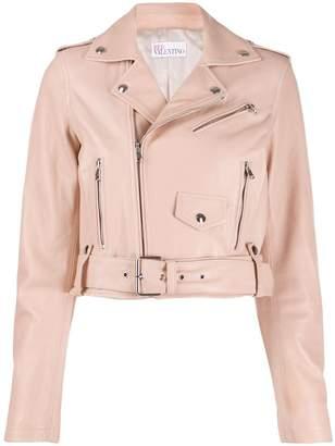 RED Valentino cropped zip-up biker jacket