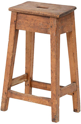 One Kings Lane Vintage 19th-C. English Tall Stool - de-cor - light brown