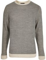 River Island Grey And Cream Textured Knit Slim Fit Jumper