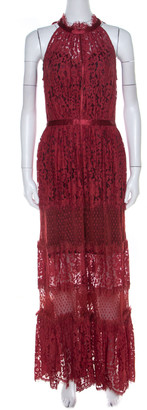 Temperley London Red Floral Sheer Lace Tiered Sleeveless Maxi Dress M