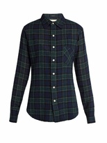 R 13 Point-collar plaid wool shirt