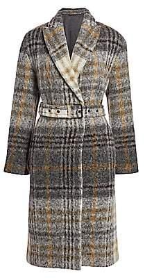 Brunello Cucinelli Women's Plaid Mohair & Wool-Blend Belted Coat