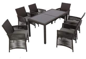 Bronx Ivy Riverdale Backyard 7 Piece Dining Set with Cushions Ivy Color: Chocolate