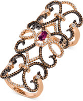 LeVian Le Vian Chocolatier Rhodolite Garnet (3/8 ct. t.w.) and Diamond (1-1/5 ct. t.w.) Knuckle Ring in in 14k Rose Gold